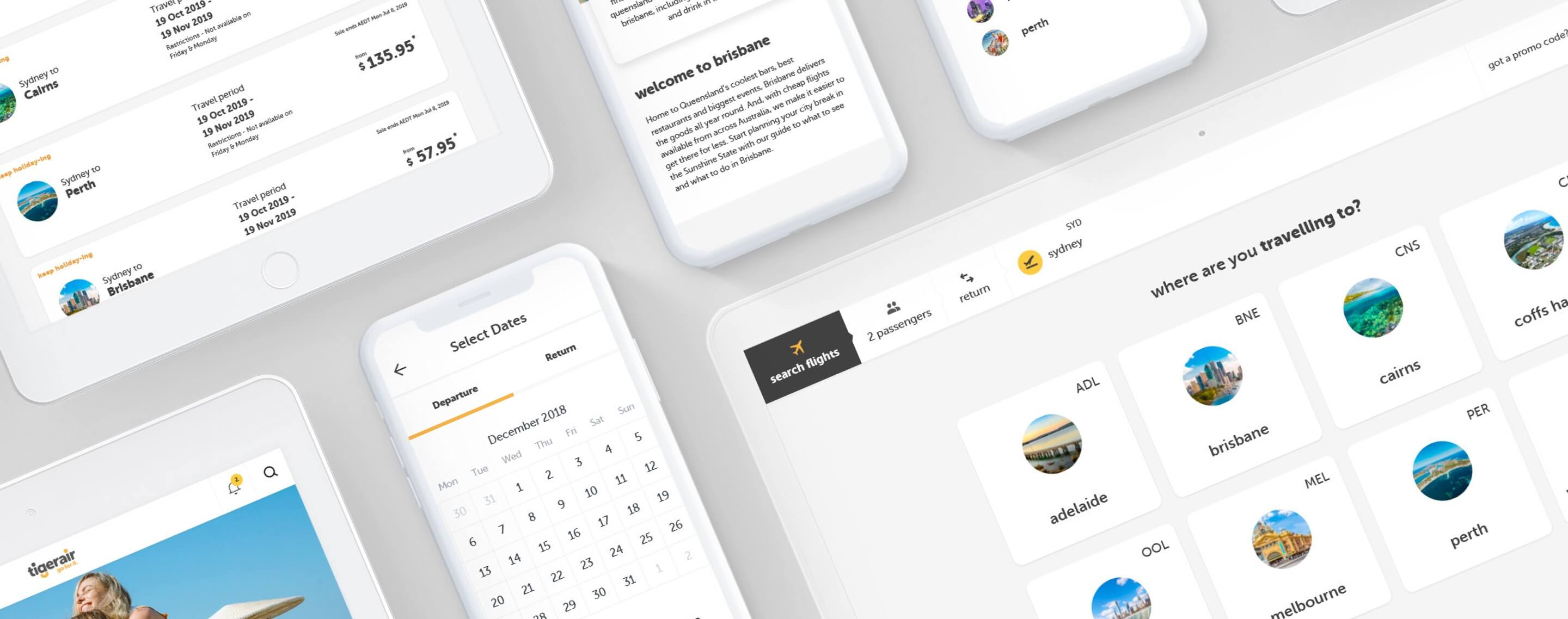 Multiple Devices showcasing Tigerair's new website design