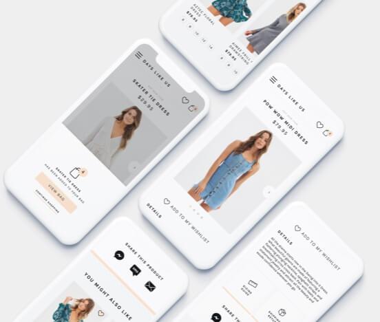 Ecommerce website design mock ups on mobile devices