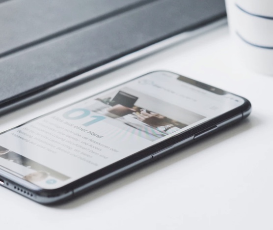 Mobile Device laying flat on a table