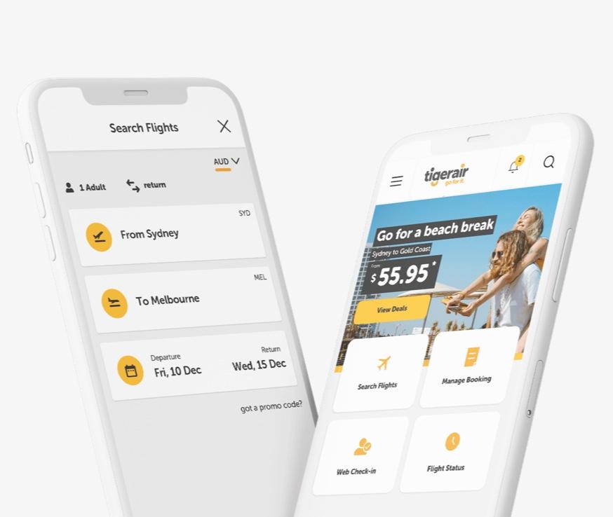 Tigerair Website on mobile image